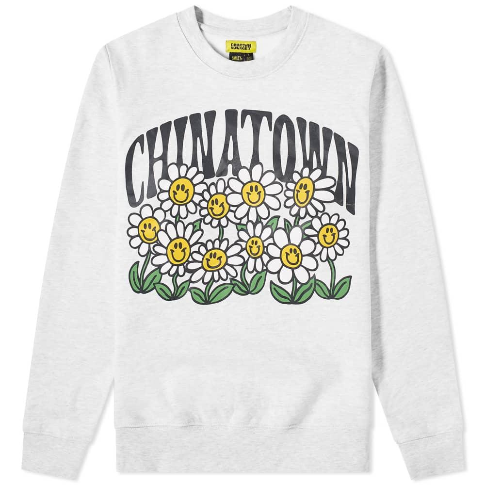 Chinatown Market Smiley Flower Power Crew Sweat - Ash Grey