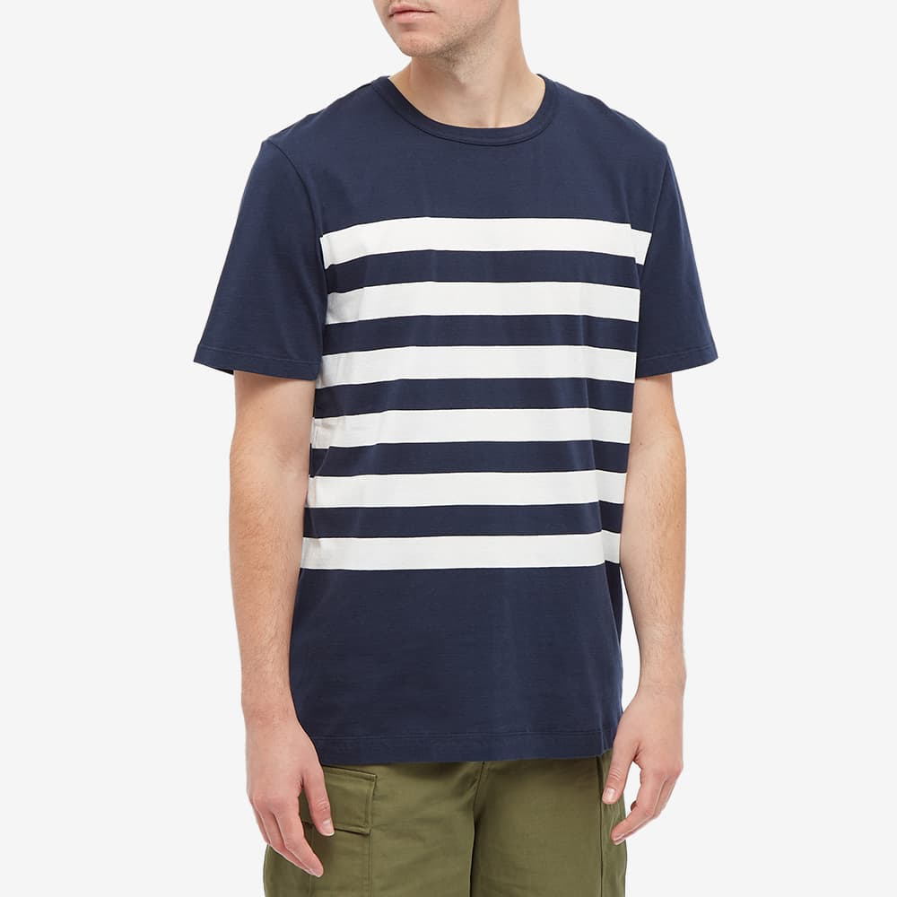 Albam Summerisle Stripe Tee - Navy & Undyed