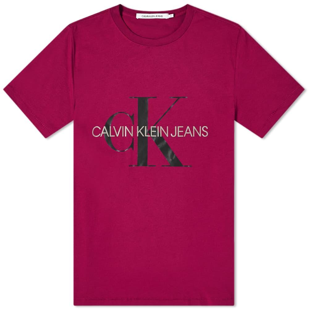 Calvin Klein Seasonal Monogram Tee - Dark Clove & Black