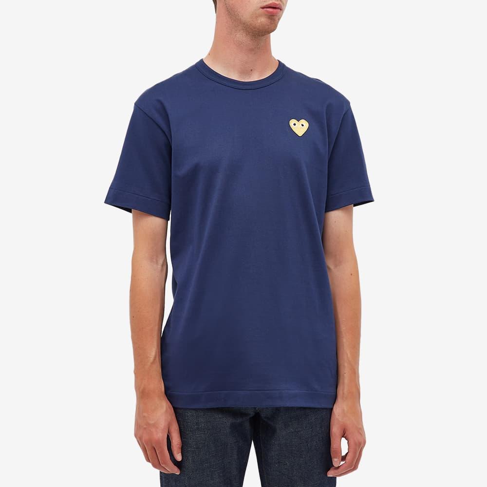 Comme des Garcons Play Gold Heart Logo Tee - Navy