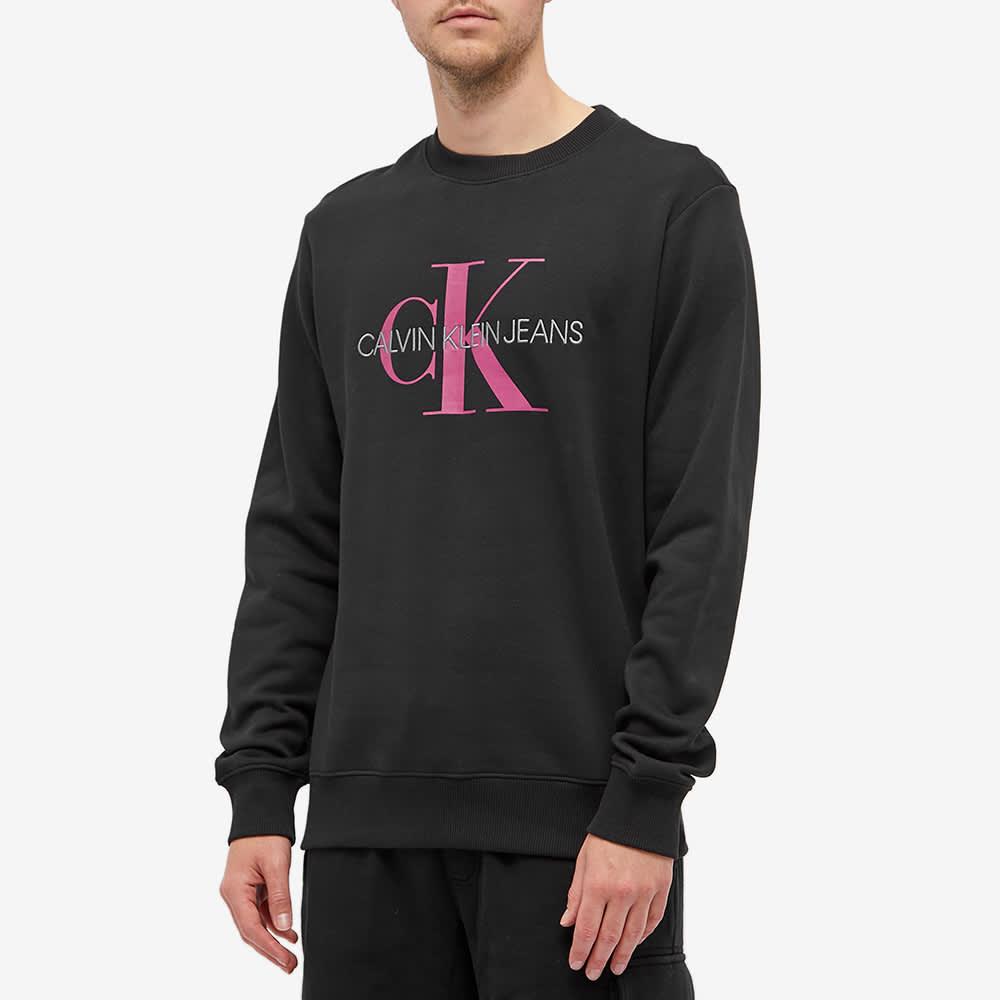 Calvin Klein Monogram Print Crew Sweat - Black & Dark Clove