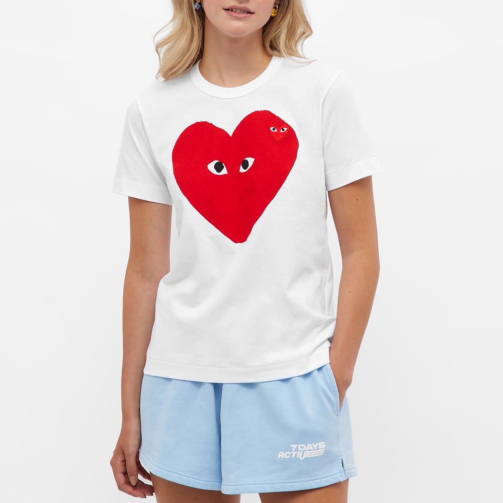 Comme des Garcons Play Women's Double Heart Print Tee - White & Red