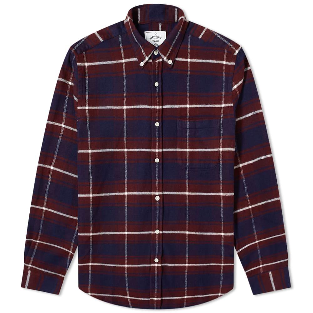 Portuguese Flannel Button Down Cruise Check Shirt - Navy & Bordeaux
