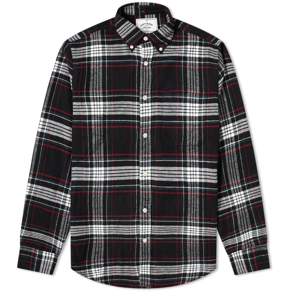Portuguese Flannel Button Down Nazare Check Shirt - Black, White & Pink