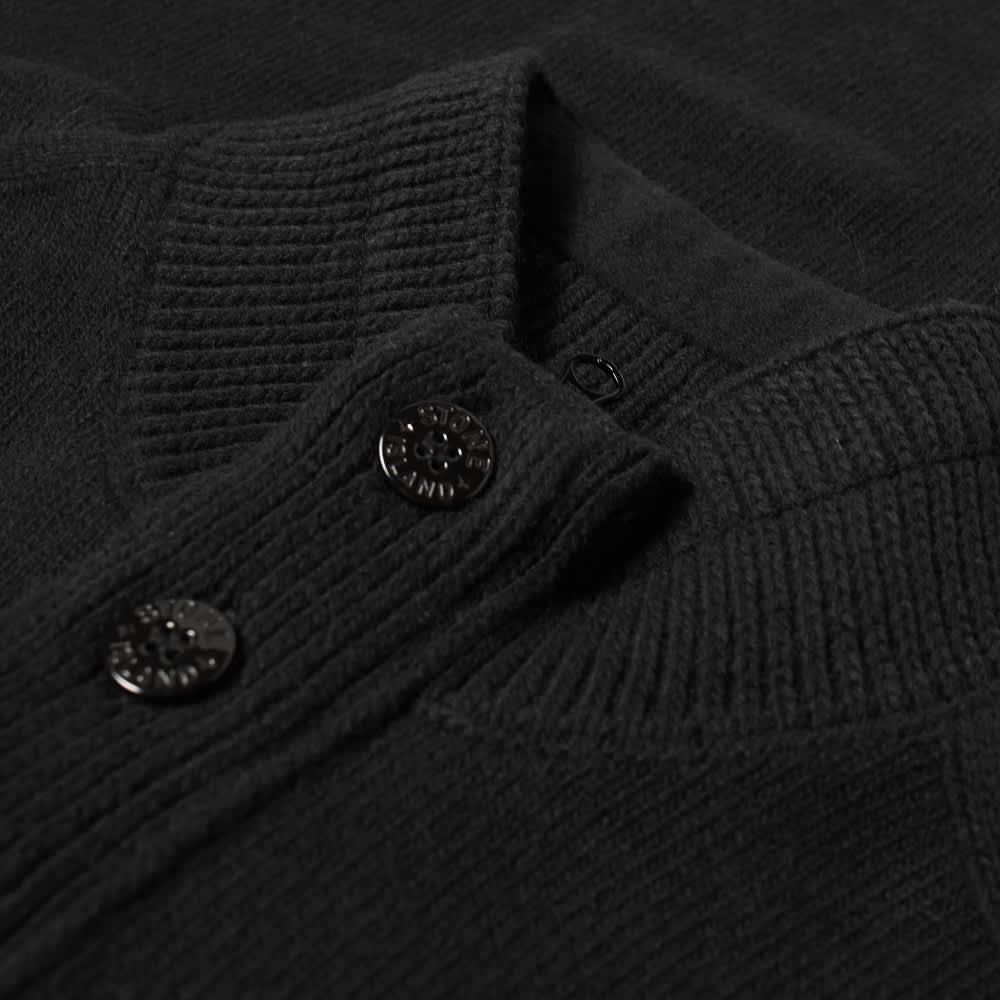 Stone Island Lambswool Half Button Knit - Black