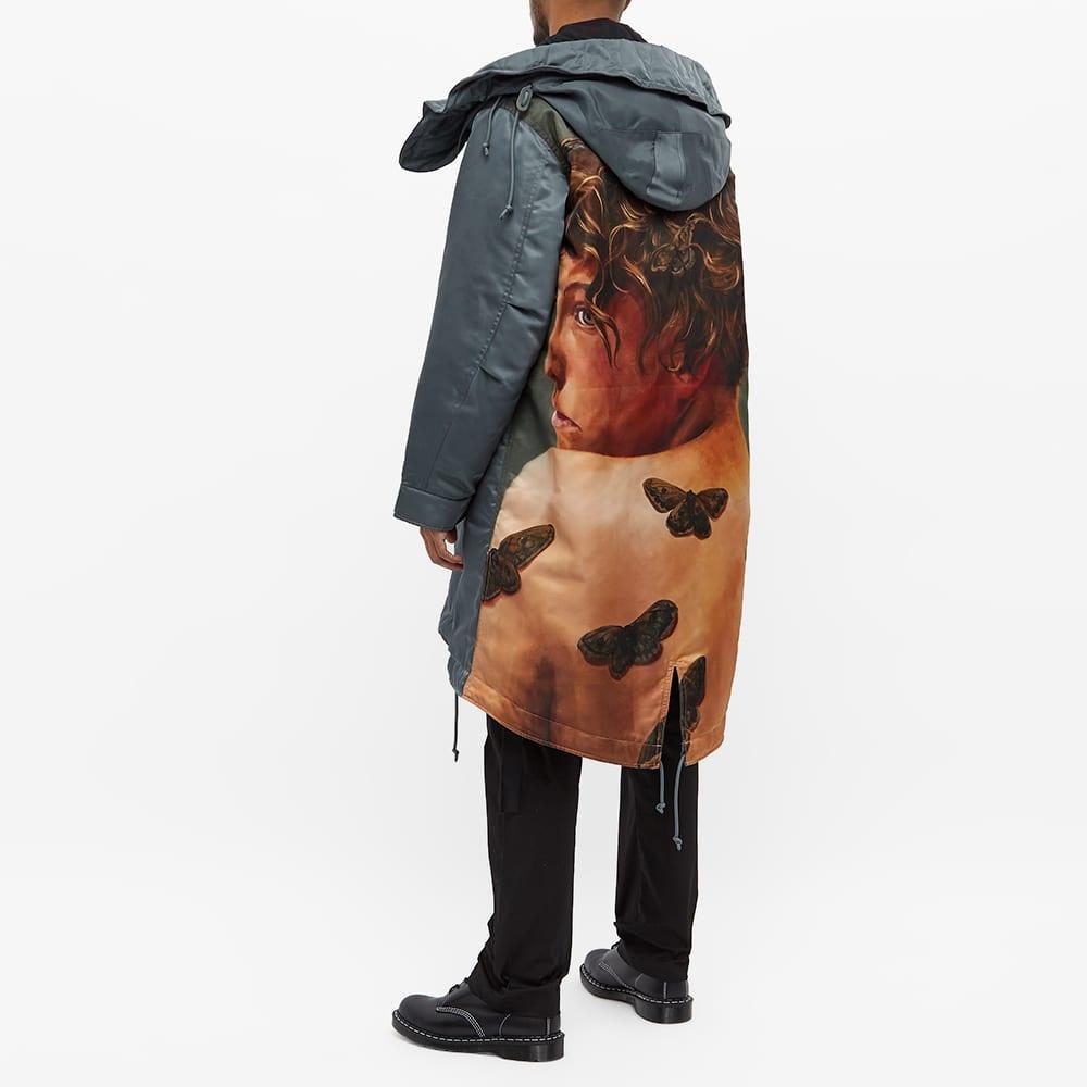 Undercoverism Oversized Parka Jacket With Face Print - Khaki Grey