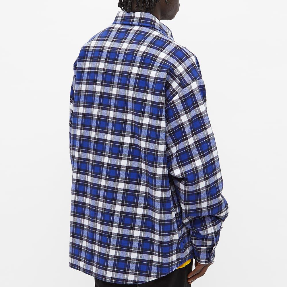 Balenciaga Logo Pocket Flannel Check Padded Overshirt - Blue & Navy