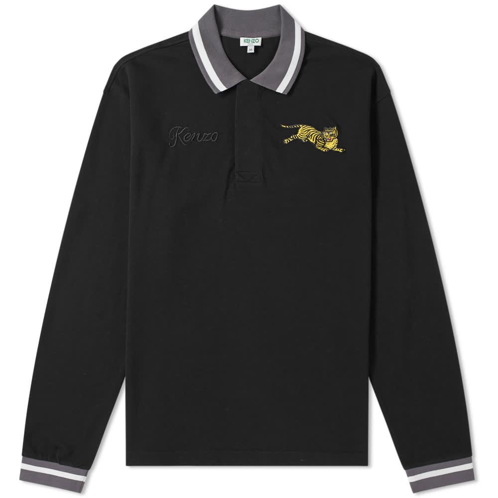 Kenzo Long Sleeve Jumping Tiger Polo - Black