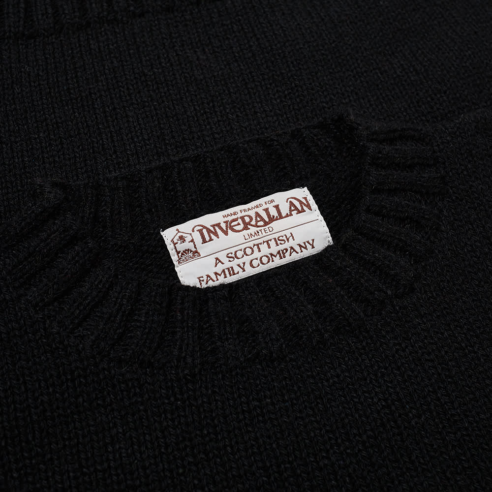 Inverallan 15A Hand Framed Shetland Crew Knit - Black