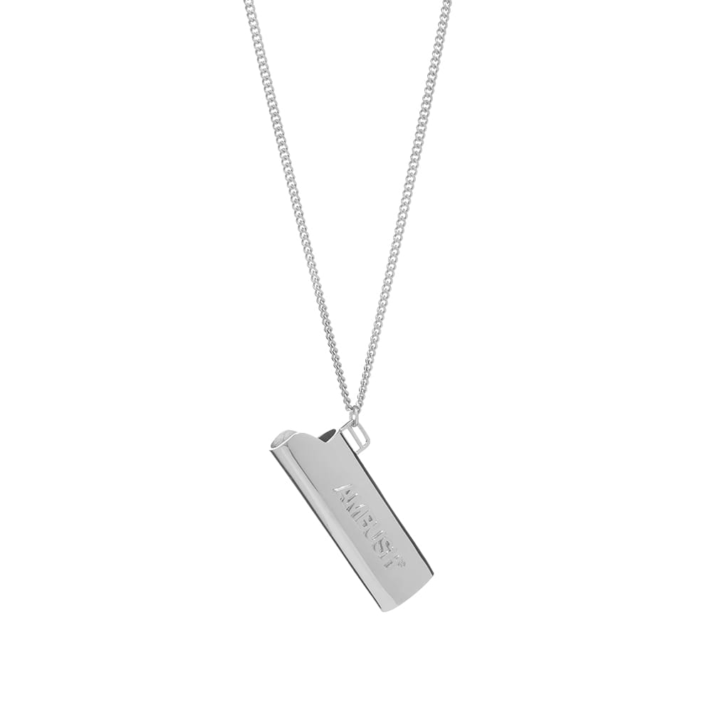 Ambush Logo Lighter Case Necklace - Silver & Silver