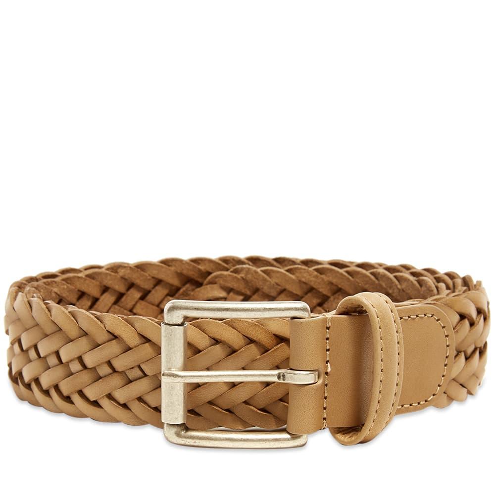 Anderson's Woven Leather Belt - Ecru