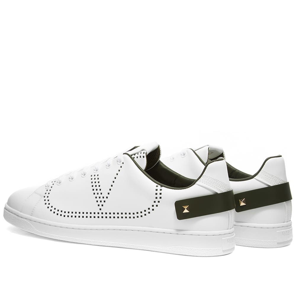 Valentino Net Go Logo Sneaker - White & Olive