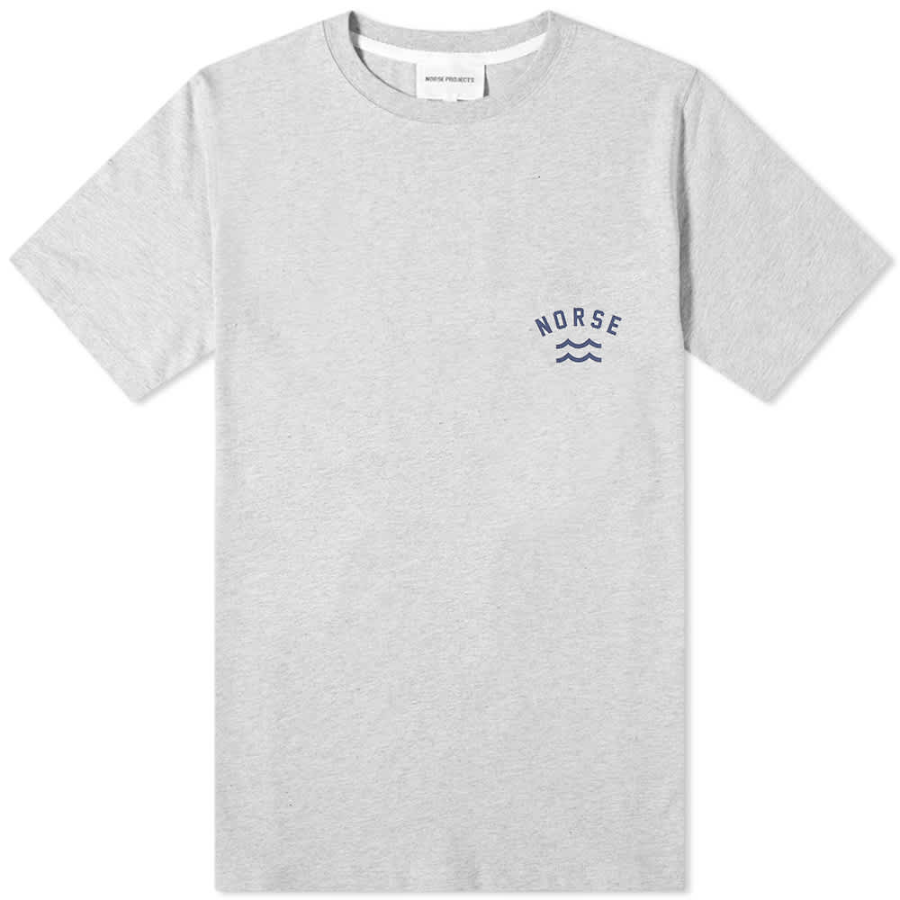 Norse Projects Niels Ivy Wave Logo Tee - Light Grey Melange