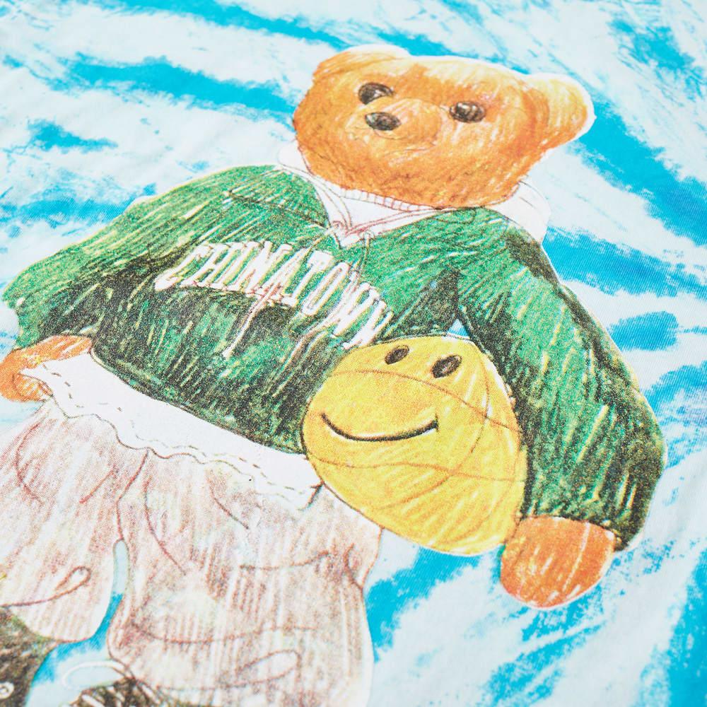 Chinatown Market Smiley Sketch Basketball Bear Tee - Tie Dye