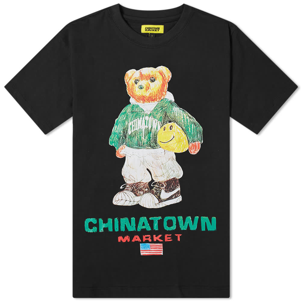 Chinatown Market Smiley Sketch Basketball Bear Tee - Black