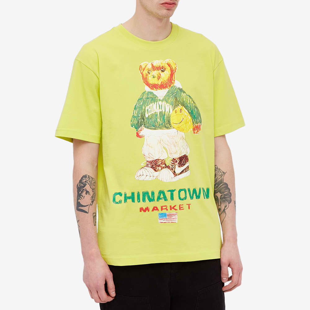 Chinatown Market Smiley Sketch Basketball Bear Tee - Yellow