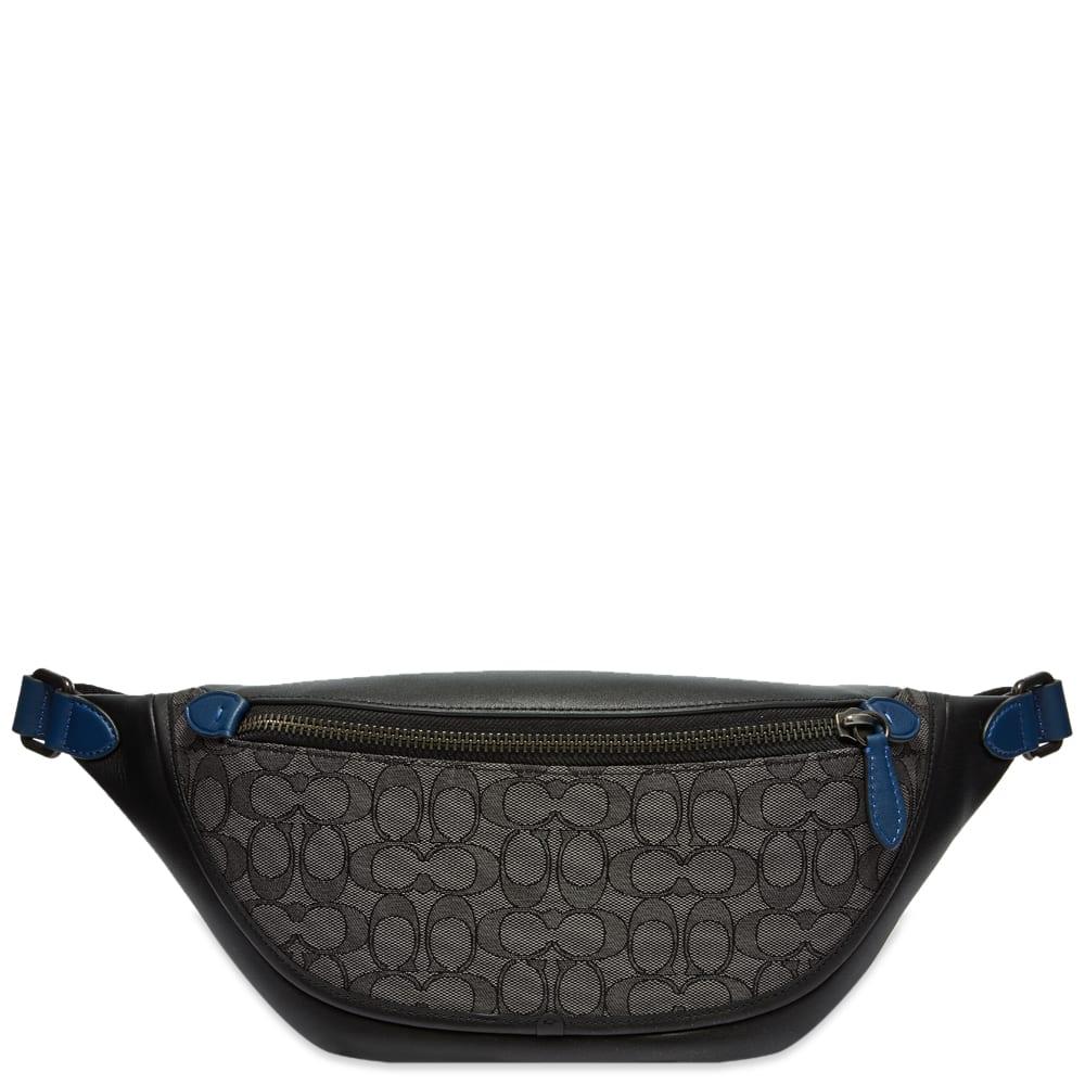 Coach League Belt Bag In Signature Jacquard - Charcoal & Black