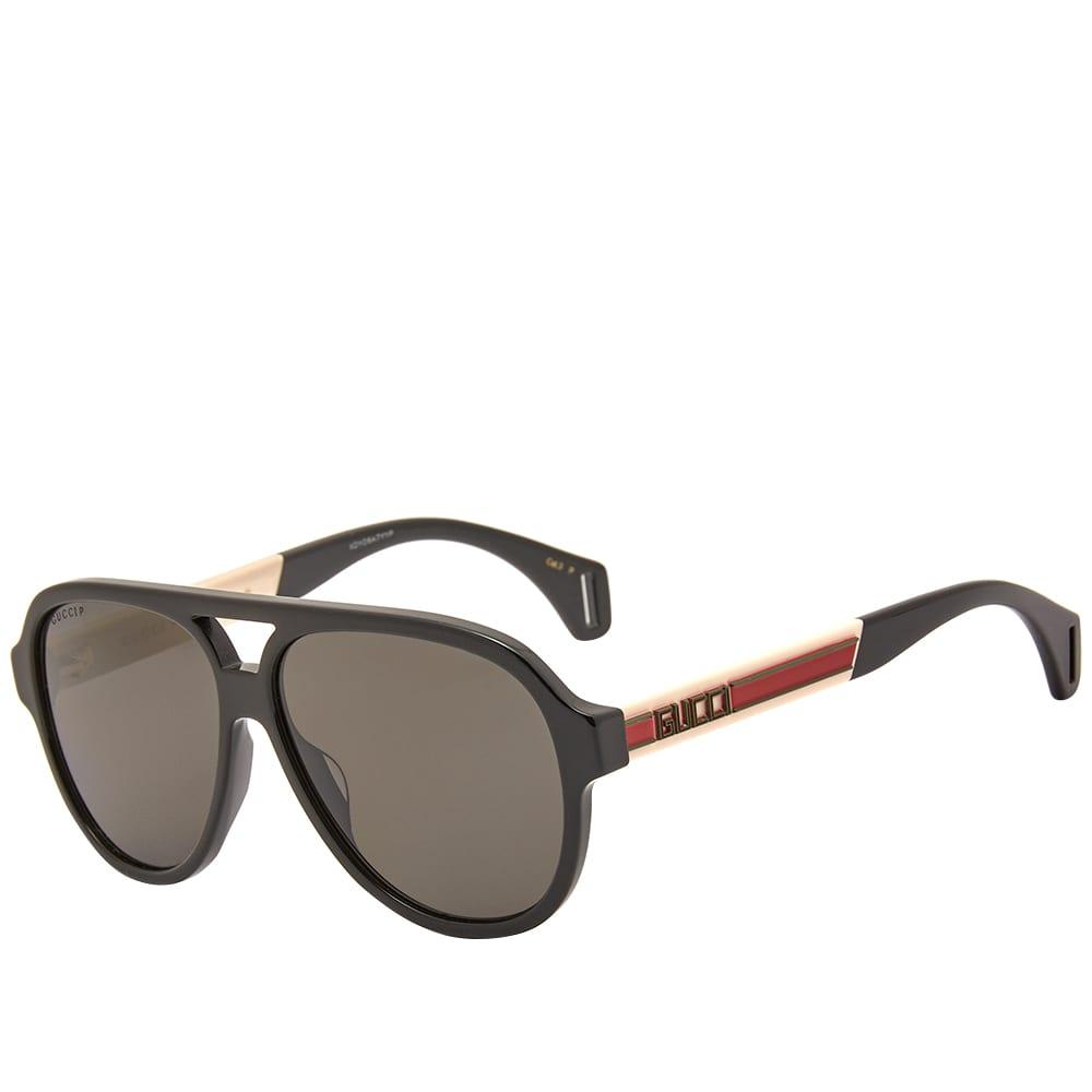 Gucci Eyewear Sport Aviator Sunglasses - Black, White & Grey