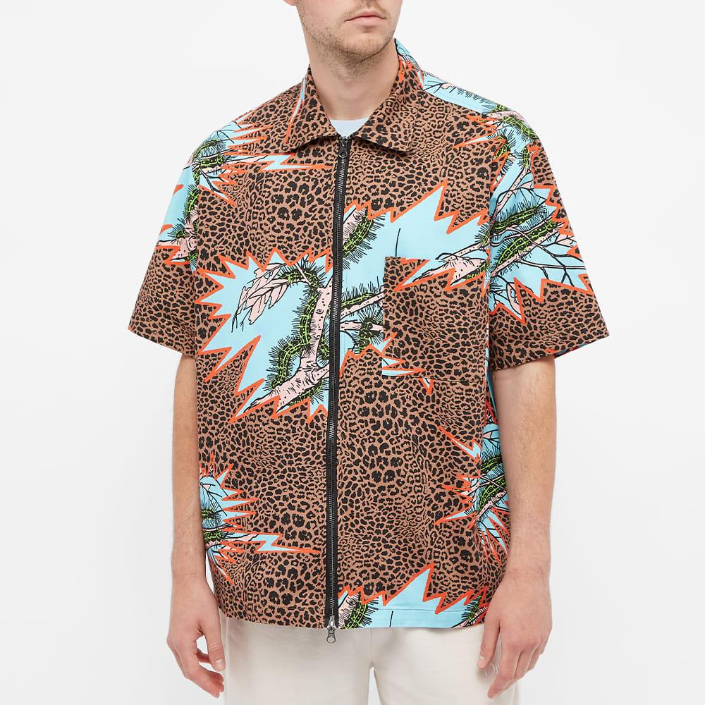 Brain Dead Mutated Cheetah Zipped Short Sleeve Shirt - Multi