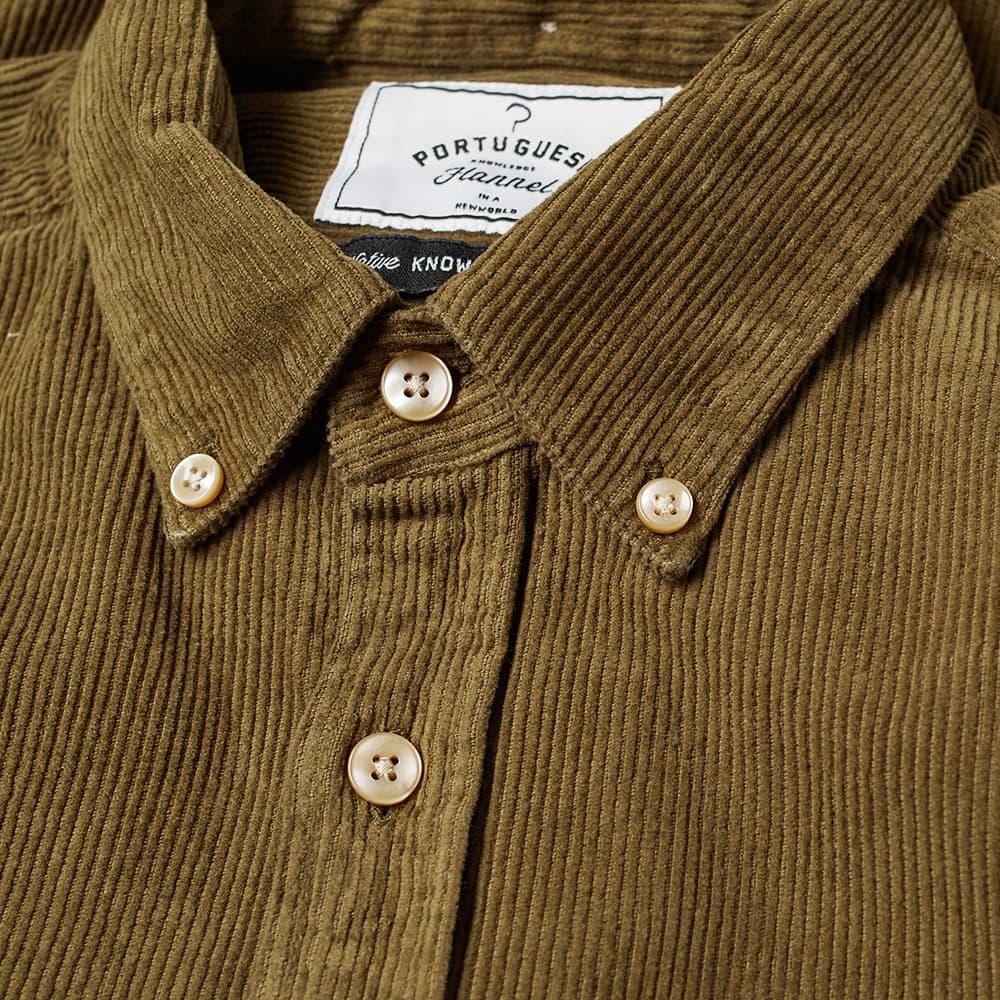 Portuguese Flannel Button Down Lobo Corduroy Shirt - Olive