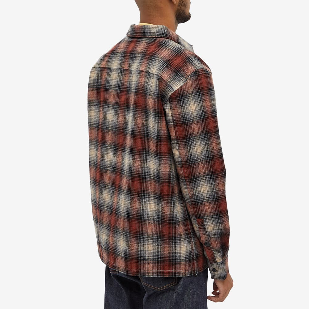 Nudie Shadow Check Wool Overshirt - Poppy Red