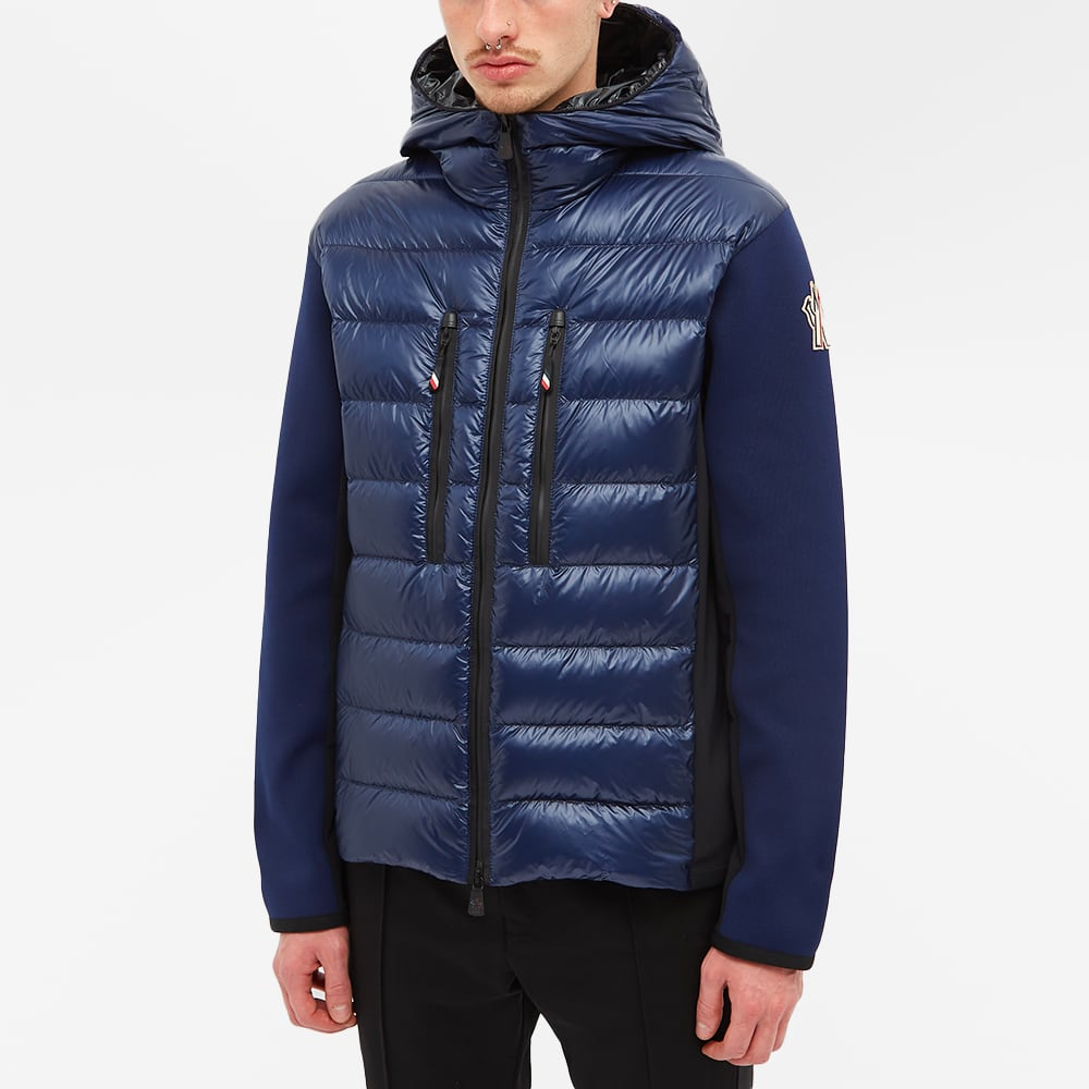 Moncler Grenoble Knitted Arm Hooded Down Jacket - Navy