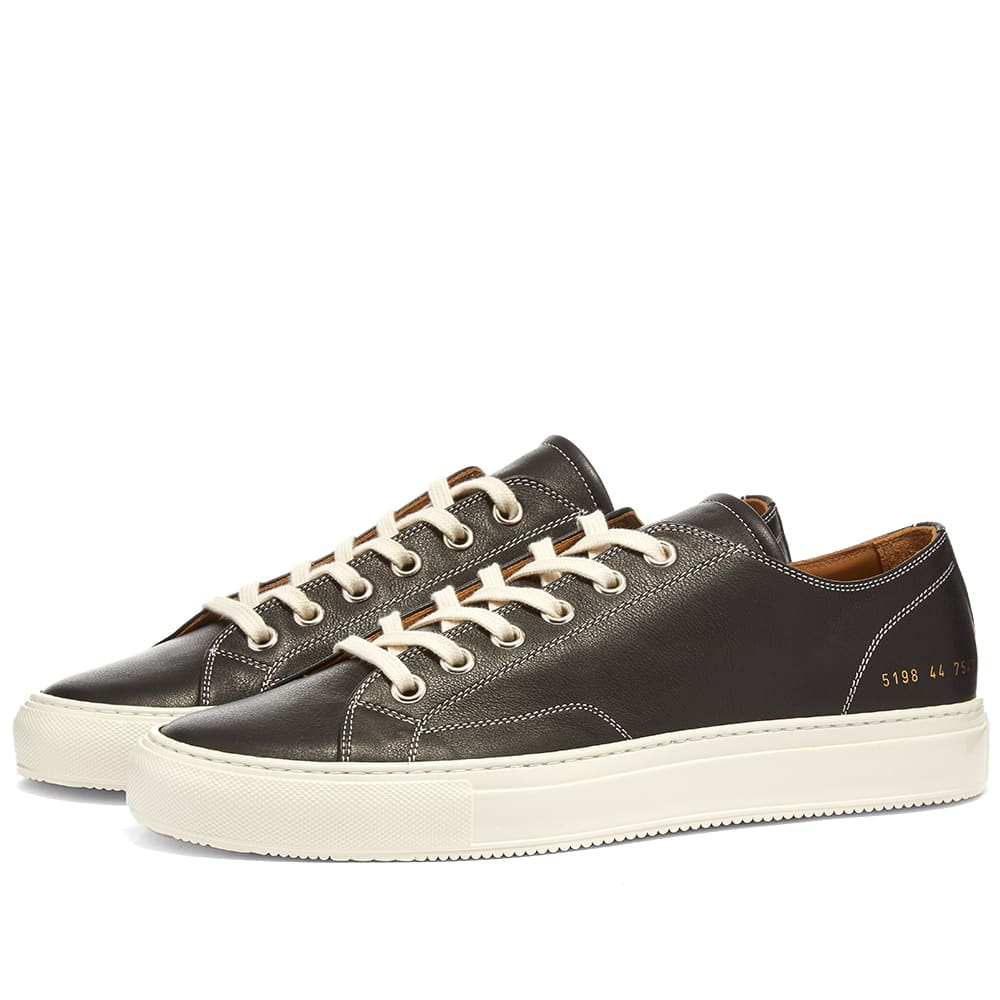 Common Projects Tournament Low Leather Shiny - Black