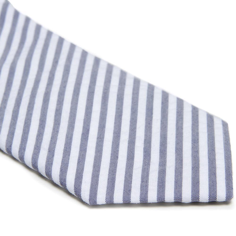 Nanamica COOLMAX Sucker Strip Tie - Navy & White