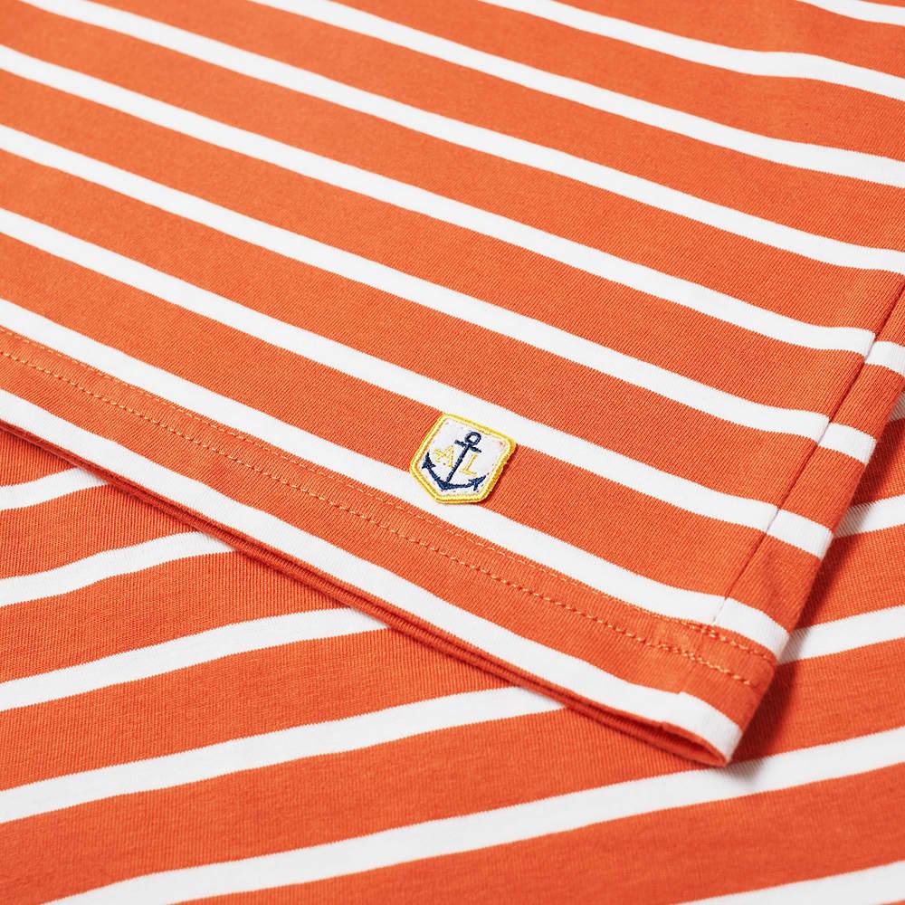 Armor-Lux Long Sleeve 73792 Mariniere Tee - Orange & White