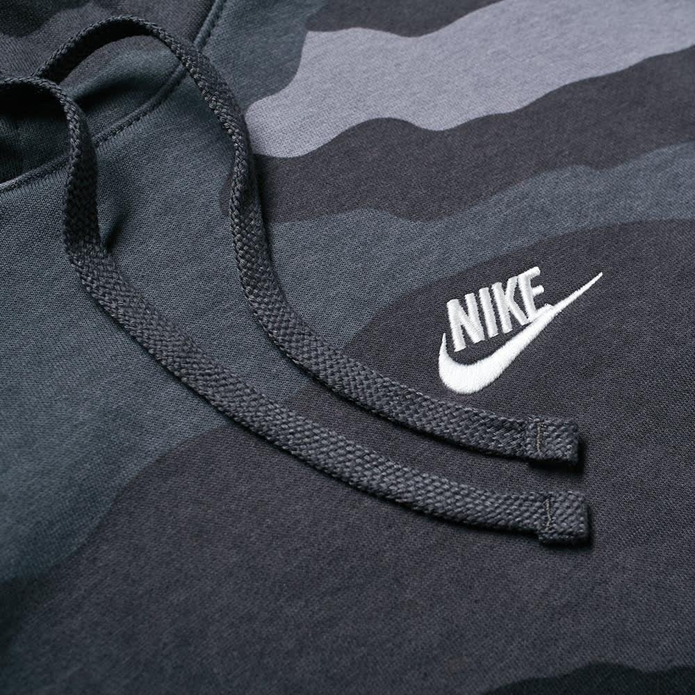 Nike Club Camo Popover Hoody - Dark Grey, Anthracite & White
