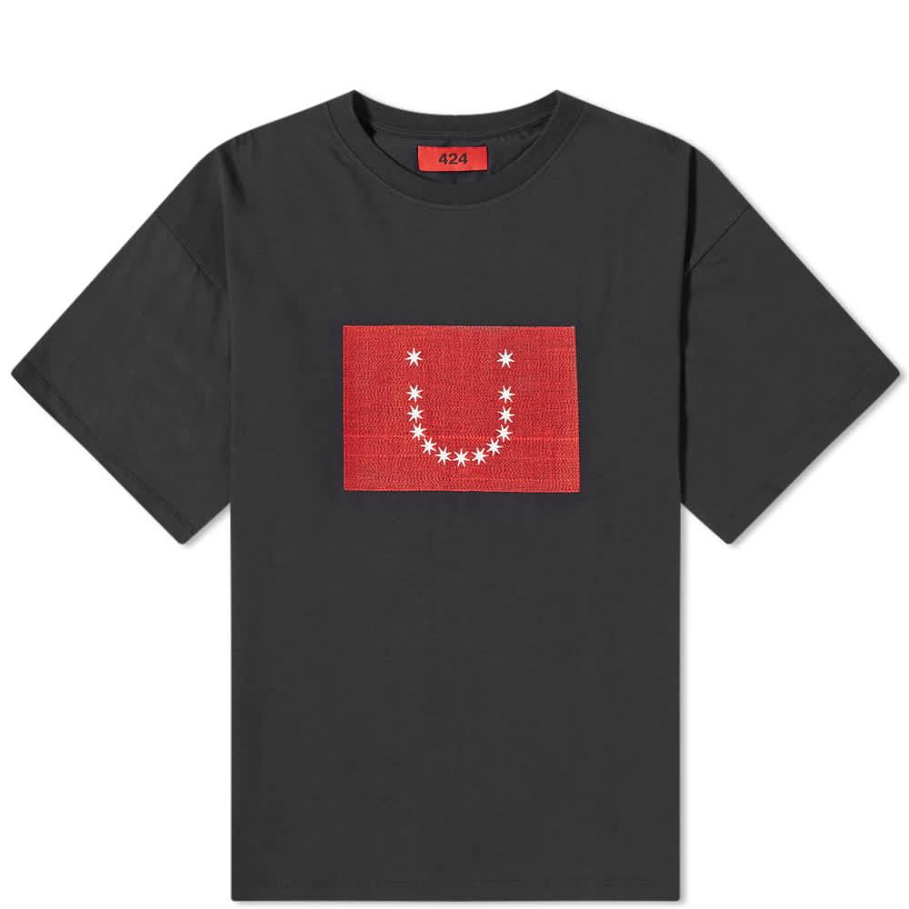 424 Embroidered Stars Tee - Black
