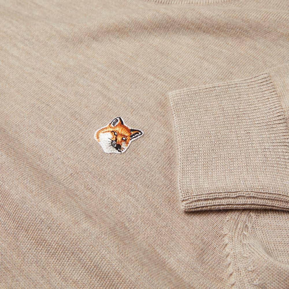 Maison Kitsuné Fox Head Patch Knit - Beige Melange