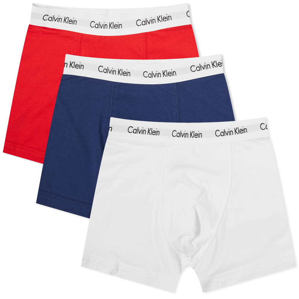 Calvin Klein Cotton Stretch Trunk - 3 Pack - Red, Blue & White