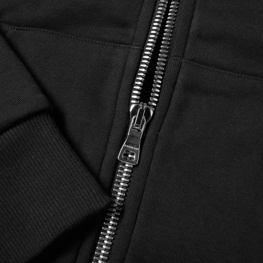 Balmain Eco Design Zipped Flock Hoody - Black & White