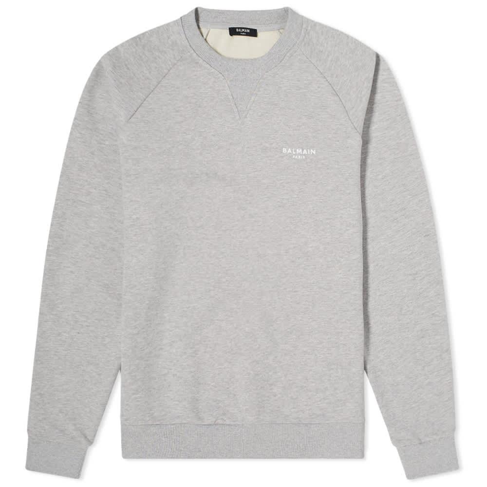 Balmain Eco Small Logo Printed Crew Sweat - Grey & White