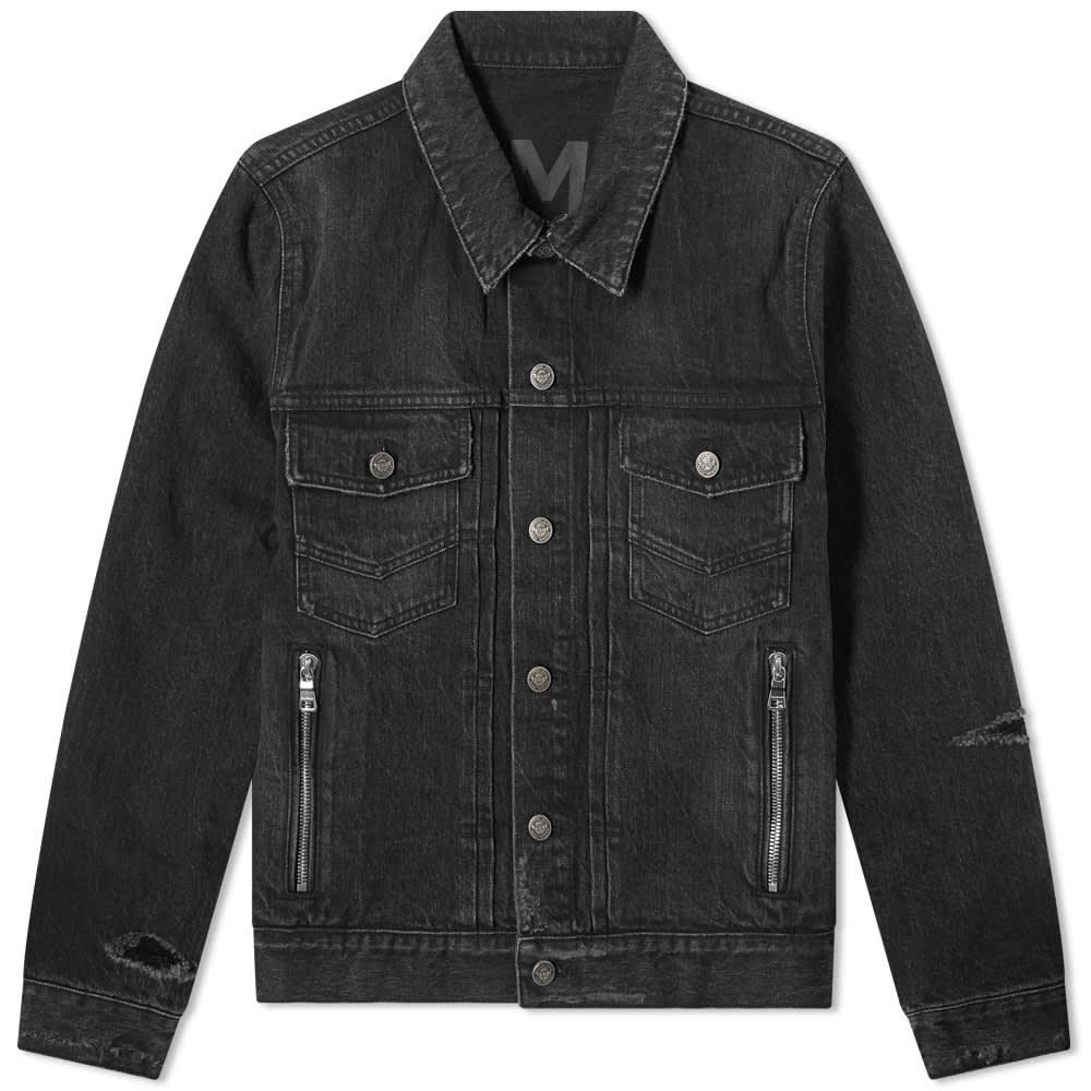 Balmain Distressed Denim Jacket - Black