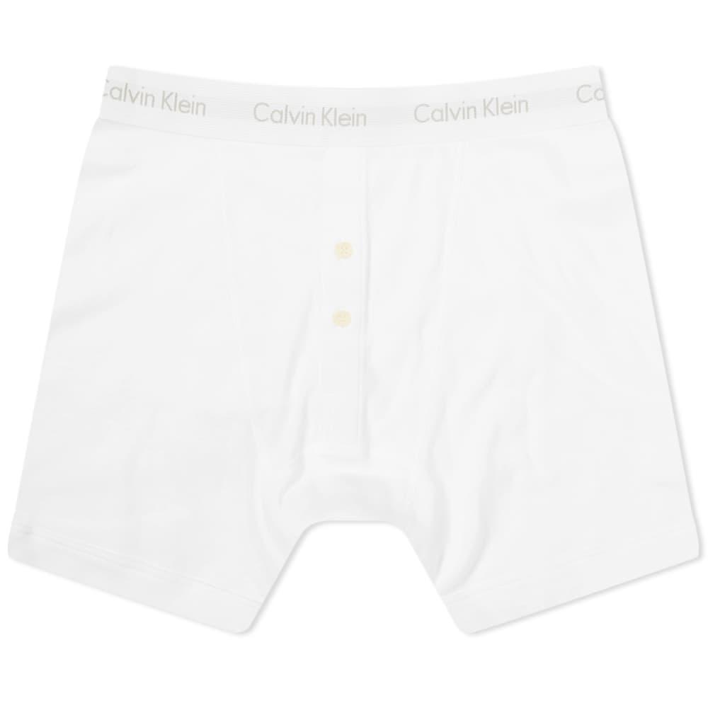 Calvin Klein Grey Box Button Fly Boxer Brief - White