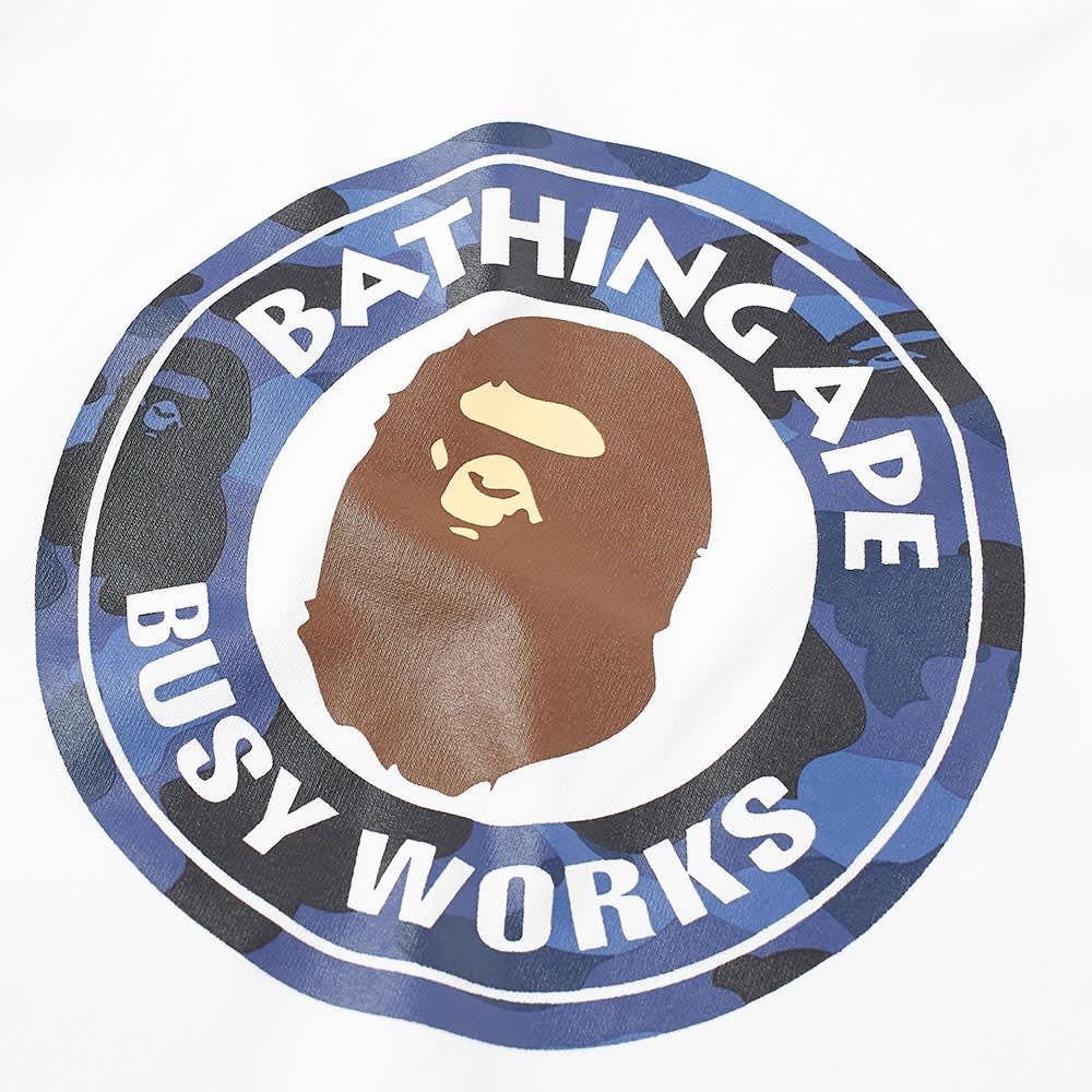A Bathing Ape Kids Colour Camo Busy Works Tee - White & Navy