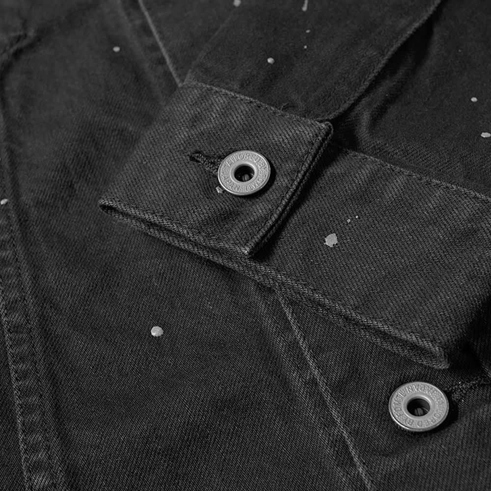 FDMTL 1yr Wash Reflective Splatter Denim Jacket - Black