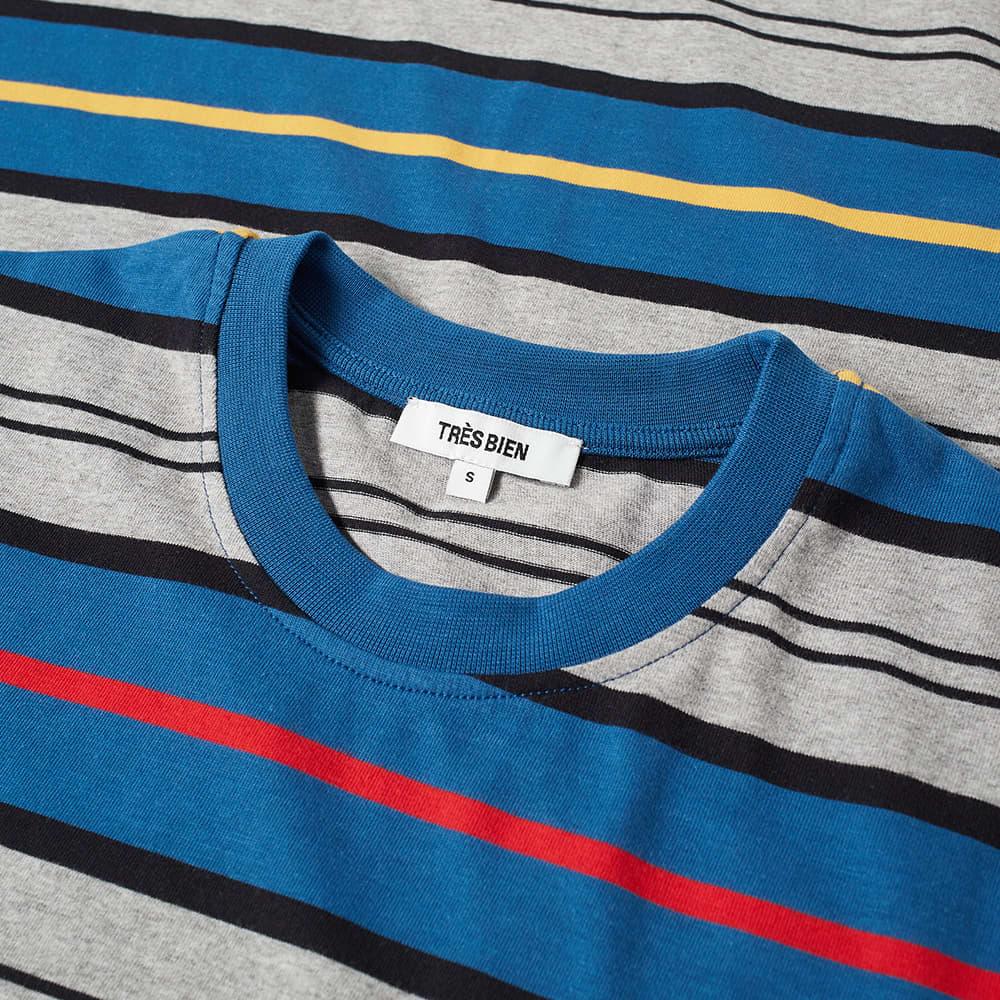 Très Bien Striped Pocket Tee - Blue Stripe