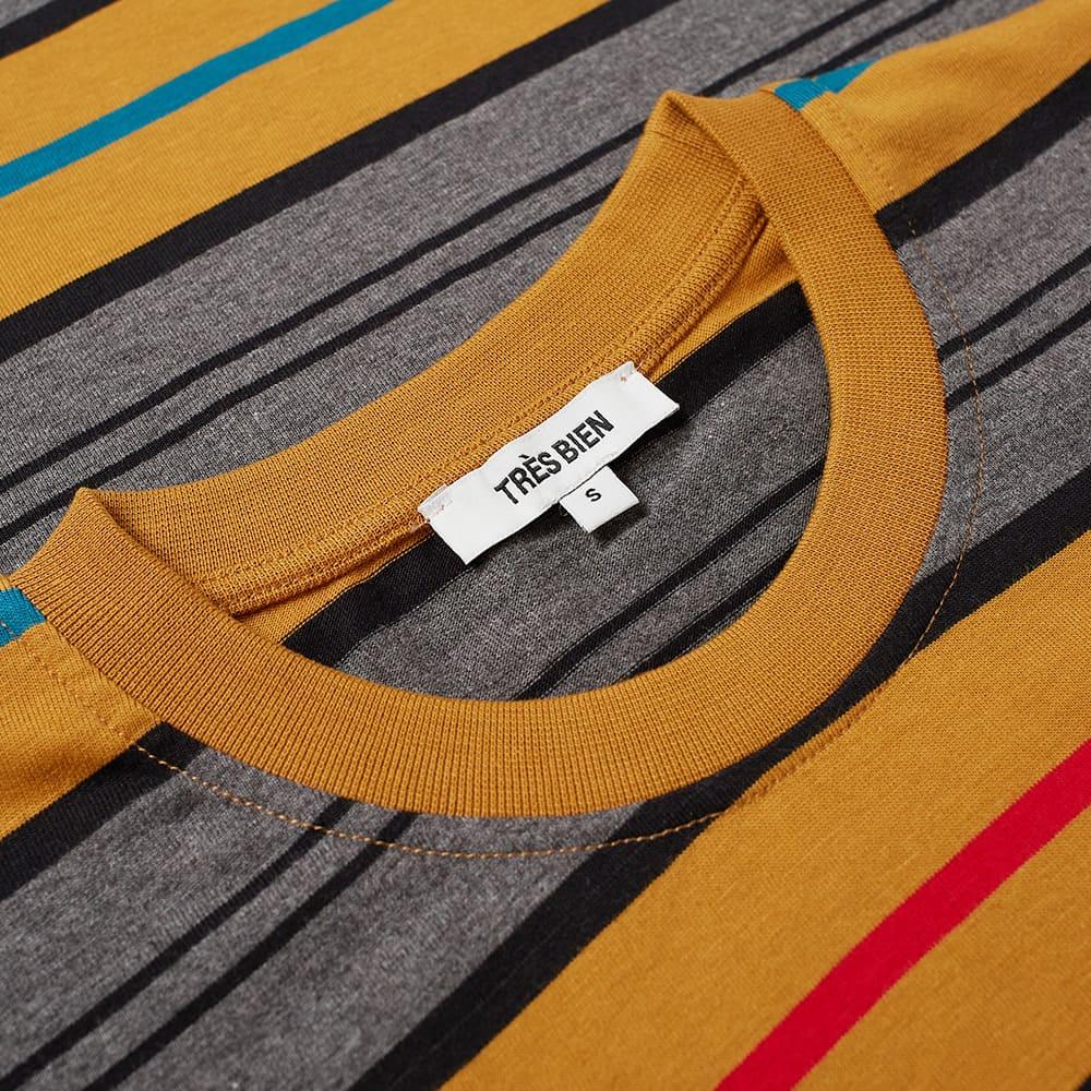 Très Bien Striped Pocket Tee - Gold Stripe