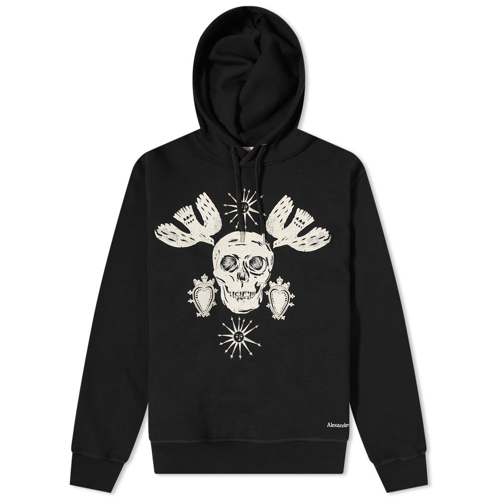 Alexander McQueen Embroidered Skull Popover Hoody - Deep Black