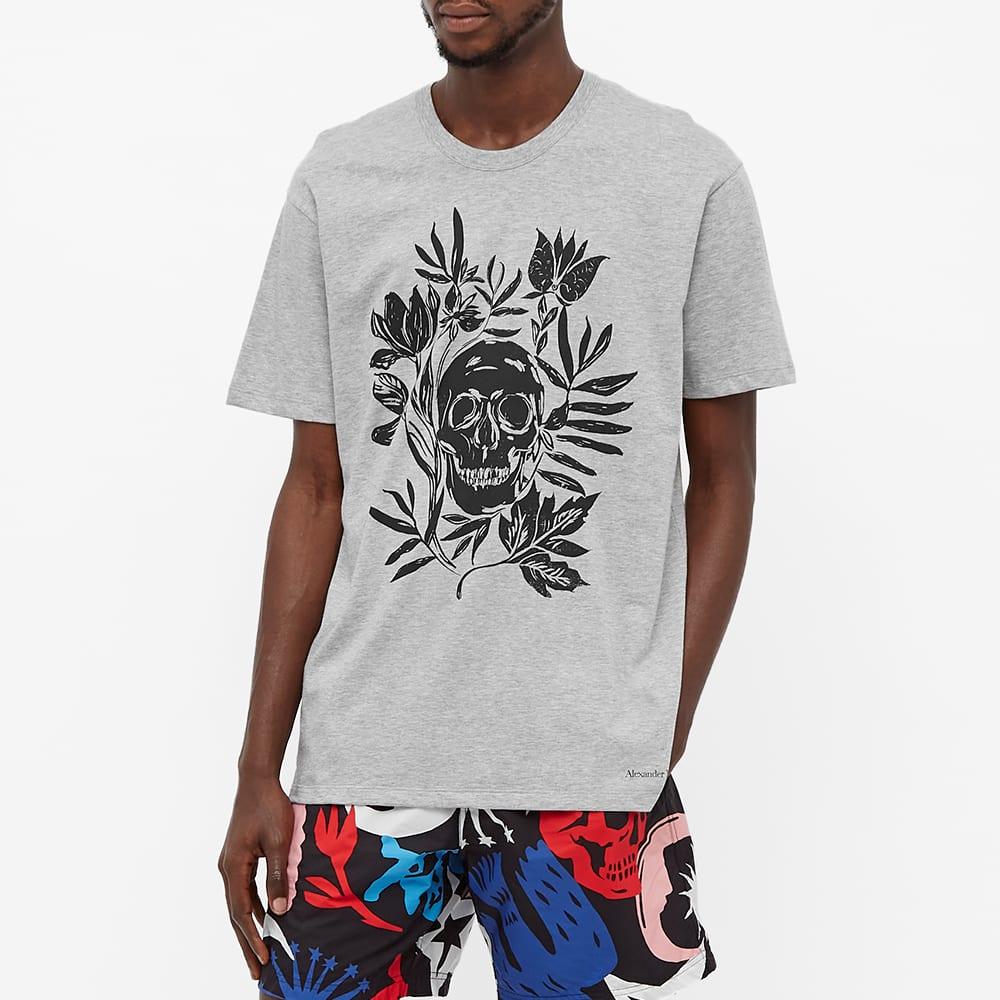 Alexander McQueen Skull Floral Print Tee - Pale Grey & Black