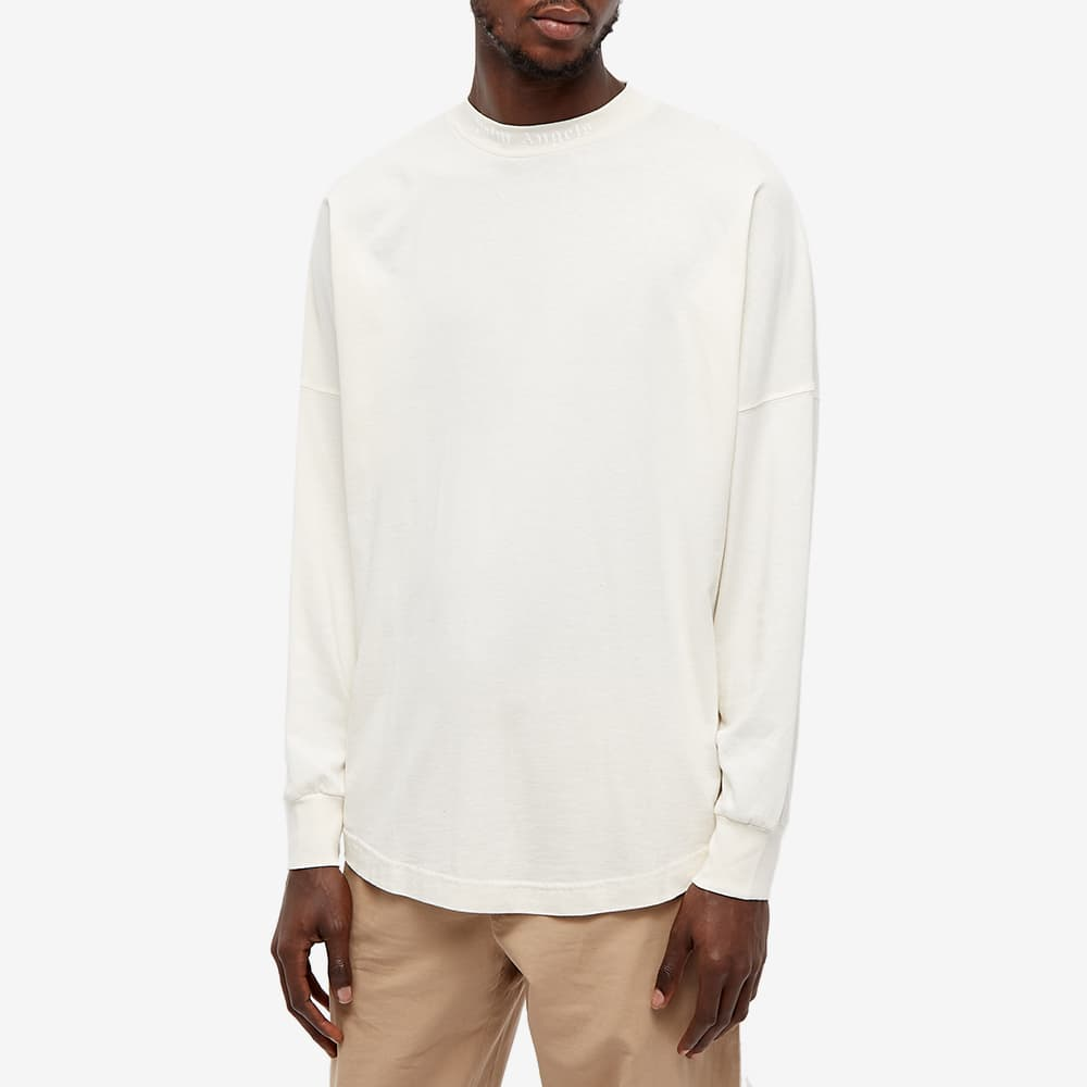 Palm Angels Long Sleeve Garment Dyed Logo Tee - Off White