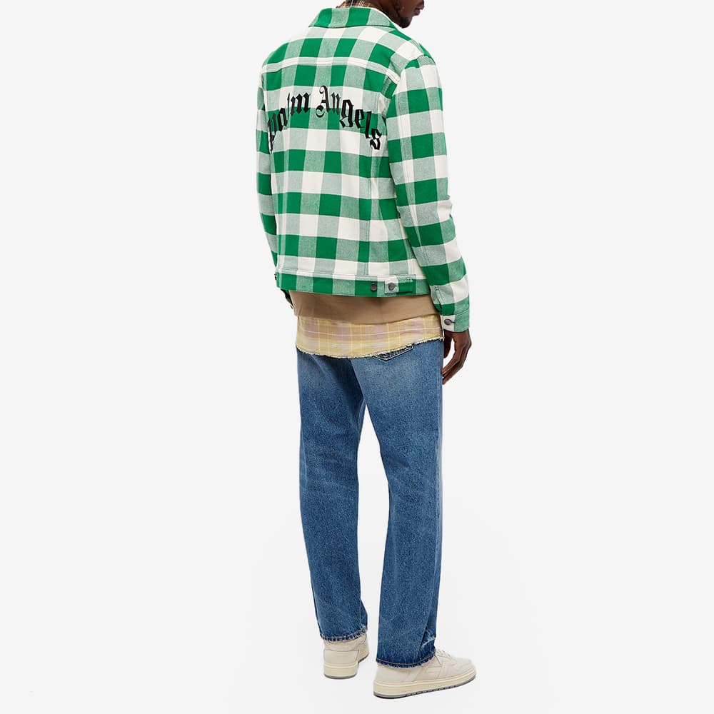 Palm Angels Curved Logo Checked Trucker Jacket - White & Black