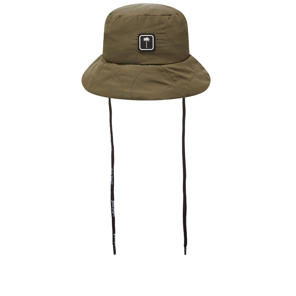 Palm Angels Patch Logo Quilted Bucket Hat - Military & White