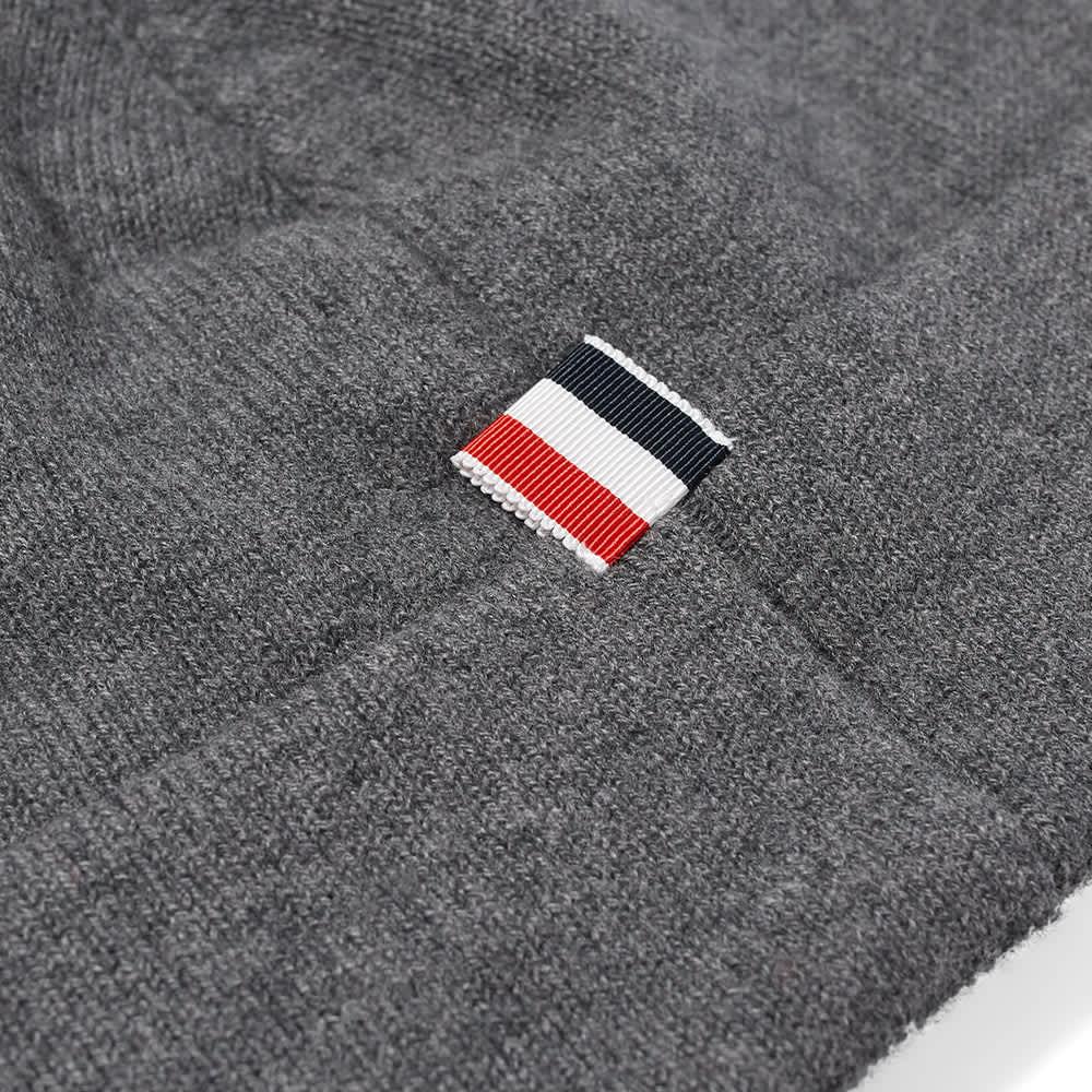 Thom Browne Merino Stripe Beanie - Medium Grey