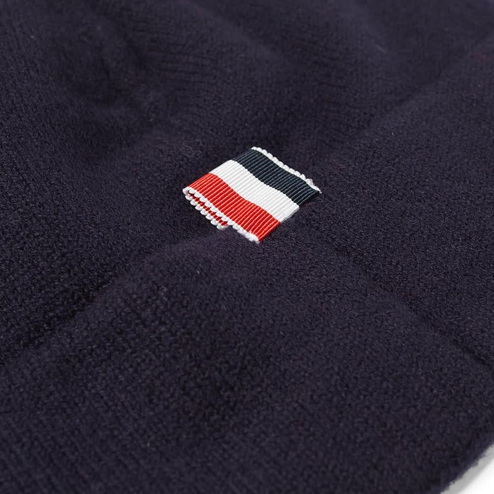 Thom Browne Merino Stripe Beanie - Navy