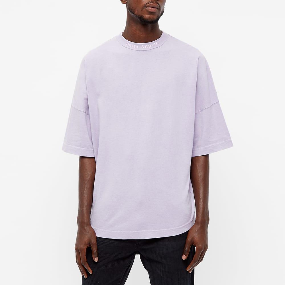 Palm Angels Garment Dyed Mock Neck Oversized Logo Tee - Lilac & White