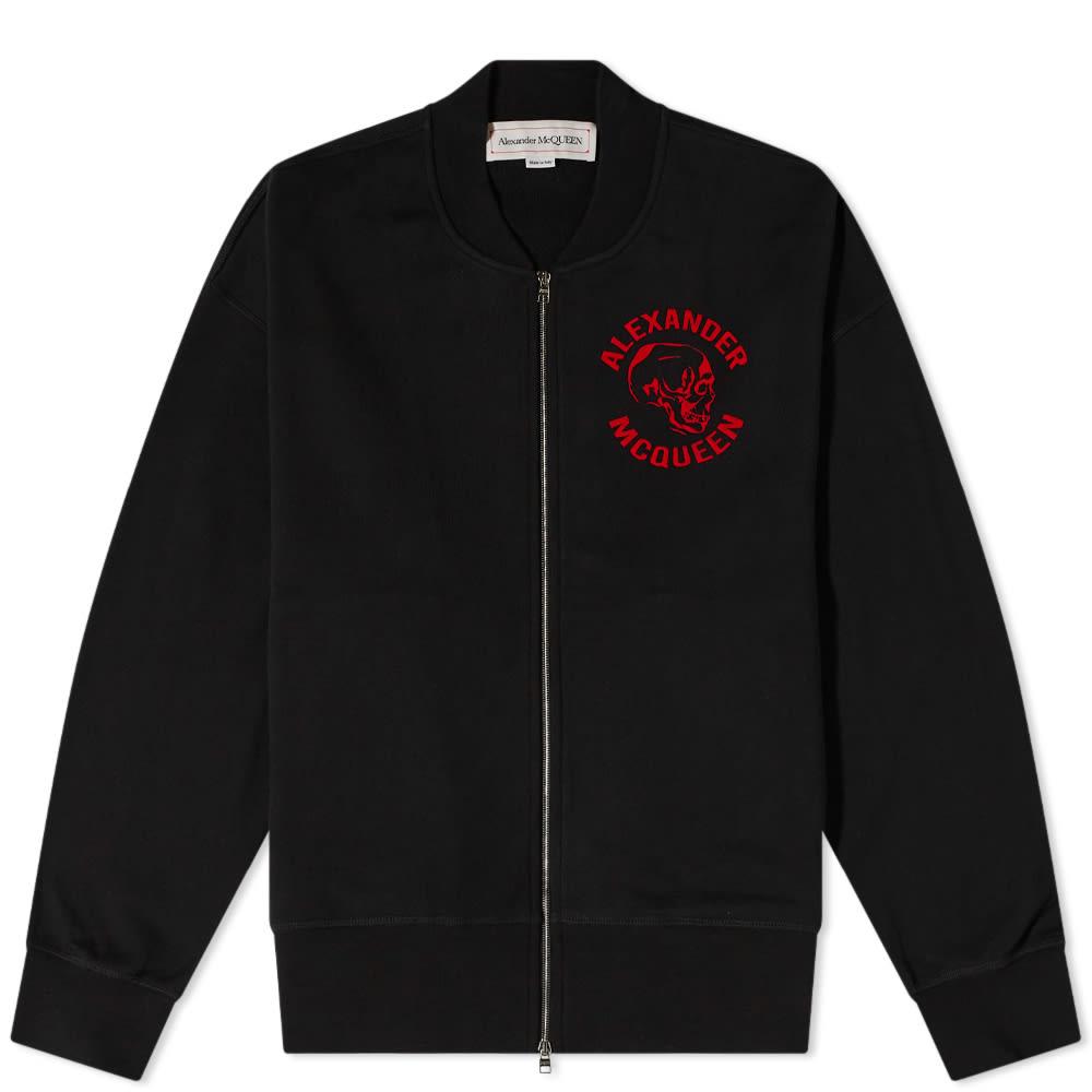 Alexander McQueen Skull Logo Jersey Bomber Jacket - Black & Multi